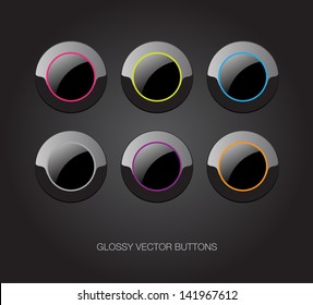 A set of black vector glossy plastic buttons with colorful details