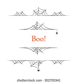 Set of black vector halloween borders on white background.