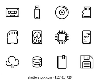 Set of black vector icons, isolated on white background, on theme Data storage