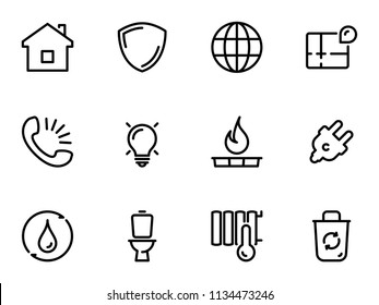 Set of black vector icons, isolated on white background, on theme Utilities. Line, outline, stroke, pictogram
