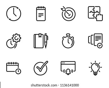 Set of black vector icons, isolated on white background, on theme Time management and personal tracking tools