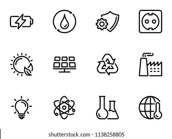 Set of black vector icons, isolated on white background, on theme Environmental energy and the production of lithium-ion batteries
