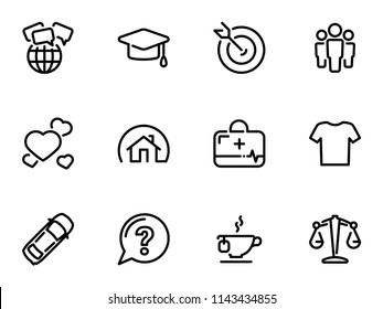 Set of black vector icons, isolated on white background, on theme Social Human Needs