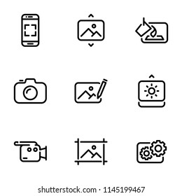 Set of black vector icons, isolated on white background, on theme Photo, video mastering