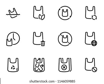 Set of black vector icons, isolated on white background, on theme plastic bags and ecology