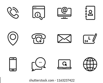 Set of black vector icons, isolated against white background. Illustration on a theme Contact us