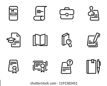 Set of black vector icons, isolated against white background. Illustration on a theme Juristic documents