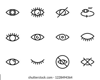 Set of black vector icons, isolated against white background. Illustration on a theme Eye