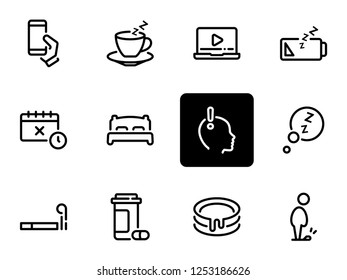 Set of black vector icons, isolated against white background. Illustration on a theme Laziness, depression and irresponsibility