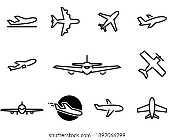 Set of black vector icons, isolated against white background. Flat illustration on a theme Air transport, aircraft. Line, outline, stroke, pictogram