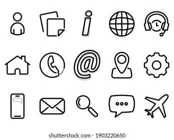 Set of black vector icons, isolated against white background. Flat illustration on a theme web elements, internet, people and online support