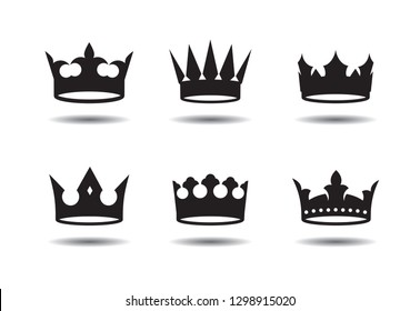 Set of of black vector king crown icon. Vector Illustration.