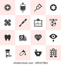 Set of black vector medical icons in simple style.
