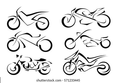 Set of black vector motorcycles on a white background. Abstract motorbike silhouette. Stock vector illustration