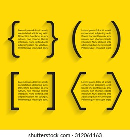 Set of black vector quotes and brackets with shadow. Vector illustration.