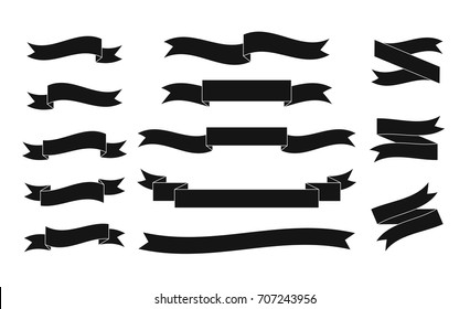 Set of black vector ribbons on white background