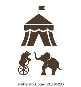 Set of black vector silhouette circus icons with a bear riding a bicycle  elephant and the Big Top tent