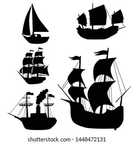 Set of black, vector silhouettes of classical sailing boat. Collection with caravel, chinese junk, yacht and steam ship. Motive of great geographical discoveries, sailing, trade and history