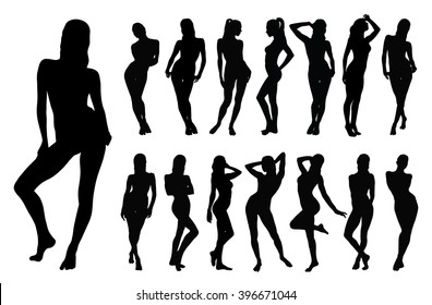 Set of black vector silhouettes of standing women in different poses.  Silhouettes of beautiful sexy girl on white background.