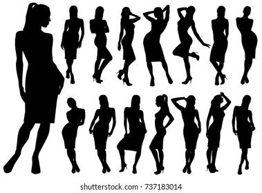 Set of black vector silhouettes of women in classic dress standing in different poses.  Icons of beautiful girl isolated on white background.