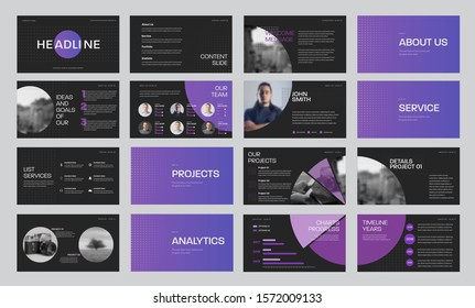 Set of black vector slide templates with gradient purple circles and photos, for annual report and presentation of web slides for marketing. Infographic timeline elements concept design.