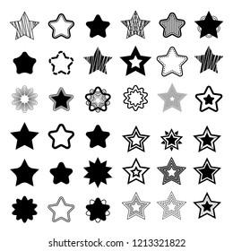Satz von schwarzen Vektorstern auf weißem Hintergrund. Kann als Muster oder eigenständiges Element verwendet werden. Geometrische Formen