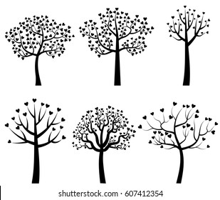 Set of black vector tree silhouettes with leaves in the shape of hearts