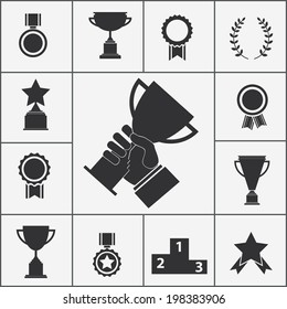 Set of black vector trophy and award icons
