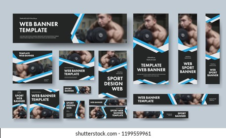 Set of black vector web banners of different sizes with intersecting ribbons. Design for sports, business and advertising.