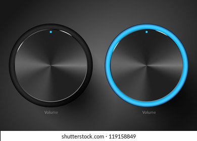 Set of black volume controls. Vector illustration.