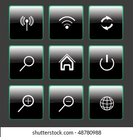 set of black web buttons