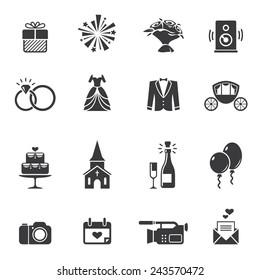 Set of black wedding icons isolated on white