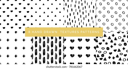 Set of black and white abstract hand drawn patterns, hand drawn textures, vector