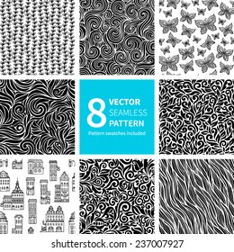 Set of black and white abstract hand-drawn patterns, seamless backgrounds. Seamless pattern for your design wallpapers, pattern fills, web page backgrounds, surface textures. Pattern swatches included