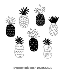 Set of black and white abstract pineapples isolated on white. Cute and stylish pineapples doodles