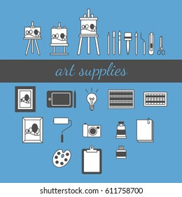 Set of black and white art supplies, including easels, brushes, knifes, scissors, pictures, tablet, light bulb, pastels, watercolor, oil, paper, camera.