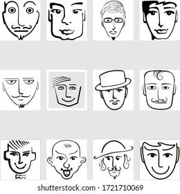 Set of black and white avatars - male cartoon portraits.