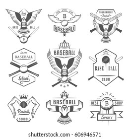 Set of black and white baseball labels, logos, sign, badges and outfit. Collection baseball club emblem and design elements. Baseball tournament professional and sports graphic.