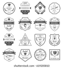 Set of black and white baseball labels, logos and badges. Collection club emblem and design elements. Sign of tournament and sport.