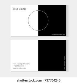 Set of black and white business cards template. Minimalistic geometric design, yin and yang, with a circle and space for text, your name and contacts.