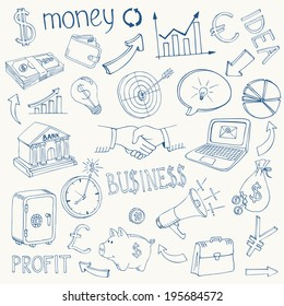 Set of black and white business and money infographic vector doodle sketch icons depicting  investment  savings  success  analytics  targets  planning  handshake  security and currencies