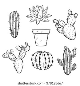 Set of Black and White Cactus With Sketchy Style