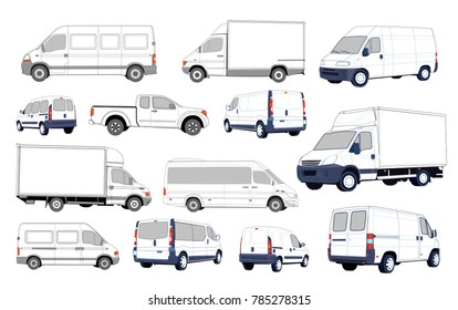 Set of black and white cars. Collection of various passenger cars and delivery trucks.