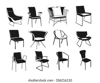 set black and white chairs