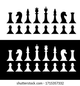 Set of black and white chess pieces. Chess strategy and tactic. Vector illustration