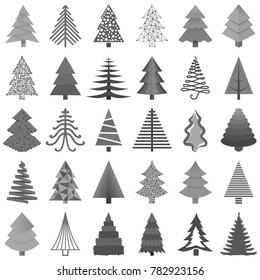 Set of black and white Christmas trees painted in different styles isolated on white background. Vector illustration.