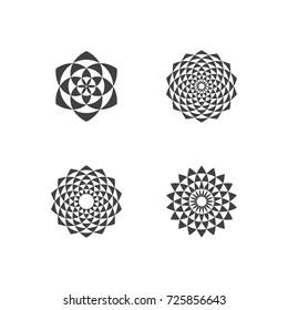Set of Black and White Circular Fractal Design Elements. Digital flower. Vector illustration. EPS 10