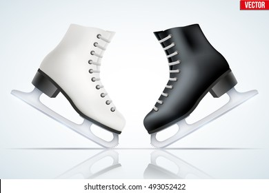 Set of Black and White classic ice figure skates with reflection. Sport equipment. Side view. Vector Illustration isolated on white background.