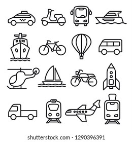 set of black white concept icons of transport