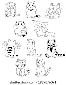 Set of black and white crying  cats in cartoon style (isolated on white background, vector graphics)